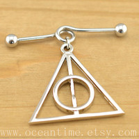 Harry potter industrial barbell piercing,Harry potter Deathly Hallows industrial barbell earring jewelry, harry potter ear jewelry,oceantime
