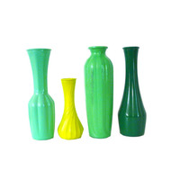 mint green vase set, upcycled vases, fall decor, vases, instant collection, chartreuse