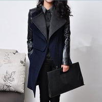 Women Blue and Black  Wool coat Cashmere coat  by AngelCity2012