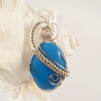 Wire Wrapped Jewelry, Handmade, Turquoise Blue Mountain Jade