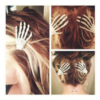 Skeleton Hand Hair Clips - Set of Two - NEW LOW PRICE
