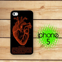 iPhone 5  iPhone 5S Case Black Red Heart Inverted / Hard Case for iPhone 5 Plastic or Rubber Trim