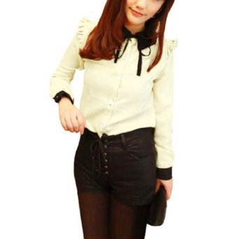Allegra K Woman Long Sleeve Bow Ruched Collar Buttoned Shirt Top Beige S