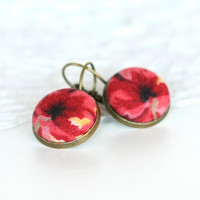 Antique Leverback Earrings - Glowing Red Roses - Red and Black Flowers - Romantic Fabric Covered Buttons Earrings