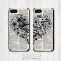 Best Friends iPhone 4 case, iPhone 4s case, iPhone 5 case - Floral Heart - Friendship iPhone 4 4s cover, Couple iPhone 5 hard cover