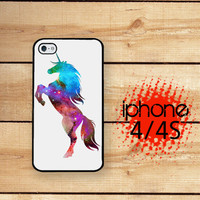 iPhone 4S Case Unicorn Nebula 2 / Hard Case For iPhone 4 and iPhone 4S Rubber Trim