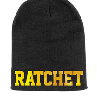 Ratchet Beanie Slouchy Knit Hat -  Black with Gold Foil
