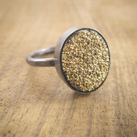 Melissa Joy Manning: gold-coated drusy ring-oxidized sterling silver