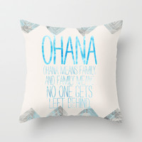 OHANA Throw Pillow by Sara Eshak