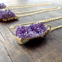 amethyst cluster necklace, long gold amethyst pendant gemstone necklace