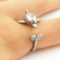 Animal Wrap Ring - Silver Dolphin