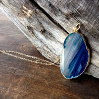 Agate slice necklace - long necklace, gold necklace, blue gemstone pendant - statement necklace