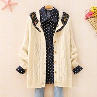 Vintage Style Diamond Pattern Twisted Cardigan for Women 1