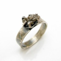 Dark Silver Rough Uncut Diamond Ring, Sterling Silver Engagement ring