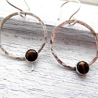 Dangle Sterling Silver Hoop with Yellow Tiger-eye Set Stone Earrings