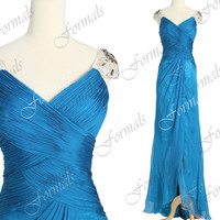 Straps V Neck Long Chiffon with Crystal Teal Evening Dresses, Teal Formal Gown, Long Prom Gown, Red Carpet Dresses