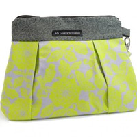 Wristlet / Clutch / Purse / Bag - Green Floral On Gray Background | Luulla