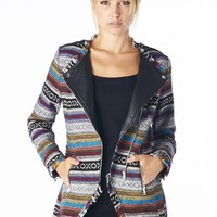 Trendy Tribal & Vegan Leather Moto Jacket