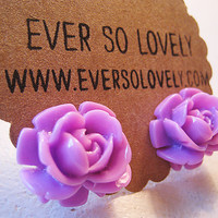 large purple rose earrings