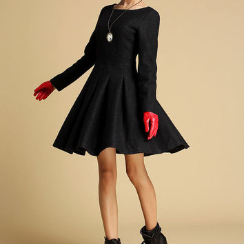 Black wool winter mini dress (352)