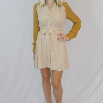 Tan & Yellow Waist Tie Dress with Button Down Front