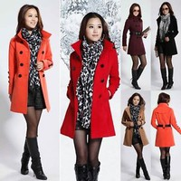 Elegant fashion women woolen winter warm double-breasted trench slim coat jacket