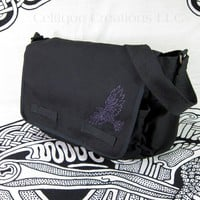Celtic Tribal Raven Black Messenger Bag Cotton Canvas Metallic Purple