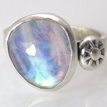 Rainbow moonstone ring - sterling silver ring - freeform gemstone ring - stone ring - rose cut bezel ring - handmade size 7 ring