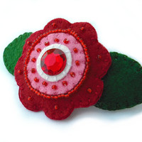 Red beaded barrette, rhinestone hair clip, embroidered felt flower, red rhinestone accessory