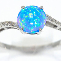 1.5 Carat Blue Opal Round Diamond Ring .925 Sterling Silver Rhodium Finish