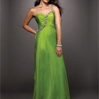 One-shoulder Column Trailing Open Back Green With Sequins Prom Dress PD0367