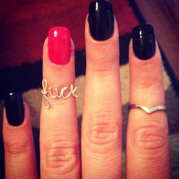 Fuck knuckle ring by ShopElectricDesigns on Etsy