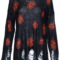 ROMWE | Halloween Pumpkins Print Black Jumper, The Latest Street Fashion