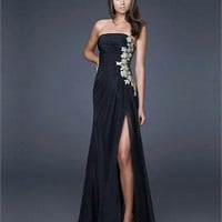 Strapless Column High Slit Open Back Black With Applique Prom Dress PD0399