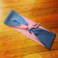 Denim Collection - Reversible Candy Cane/Denim Rockabilly Head Scarf
