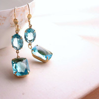 Aquamarine earrings with vintage rhinestones by shadowjewels