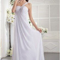 Delightful One Shoulder Sweetheart White Bridesmaid Dress