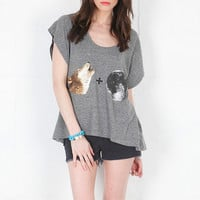 Local Celebrity Wolf + Moon Joplin Tee in Heather Grey