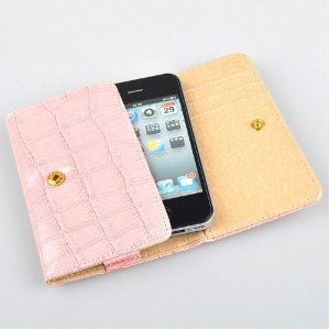 PINK Crocodile Skin Leather Case Cover for Apple iPhone 4 4G 3G 3GS