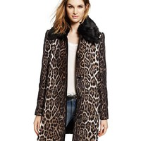 Wool Leopard Print Faux Fur Coat
