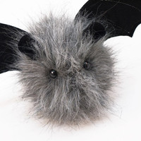 Ozzy the Gray Fuzzy Bat Halloween Stuffed Animal Plushie Toy - 4x5 Inches Small Size