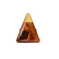 Color block triangle Statement Ring . Geometric wood jewelry .  Triangle ring .  Starlight Woods . wood ring modern jewelry eco friendly