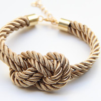 Brown silk cord Knot Bracelet  24k gold plated  by TheUrbanLady