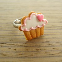 Cupcake Cookie Ring - Pink Heart To The Right | Luulla
