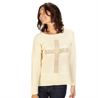 Dolled Up Juniors Sweater with Studded Cross at Von Maur