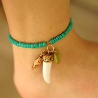 Turquoise Tooth Anklet with Charms by NativeLivingJewelry on Etsy