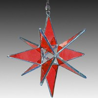 Cherry Red Moravian Star | L-A-Glass - Glass on ArtFire