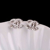 Beautiful Shinny Silver Crystal Rhinestone Double CC earrings stud with gift box included