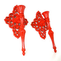 red candle sconces, wall decor, hanging candle holders, ornate, upcycled metal