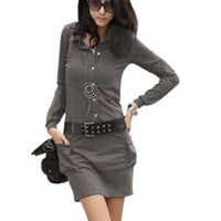 Allegra K Ladies Dark Gray Point Collar Long Sleeve Belted Dress M